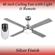 Fias Revolve 48 inch Ceiling Fan in Brushed Chrome with Light and Remote
