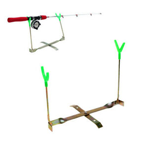 Outdoor Ice Fishing Rod Dual-Holder Rack 360 Rotation Y Shape Pole Stand
