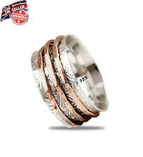 925 Solid Sterling Silver Wide Band Handmade Spinner Meditation Statement Ring