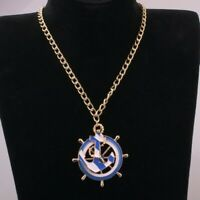 Nautical Anchor Ship Wheel Helm Blue White Necklace Pendent Jewellery Gift Bag