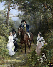 Vintage Painting/Art Print/Poster/French/English/'A Walk In the Woods' 17x22 in