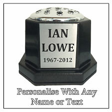 Personalised Memorial Vase Pot for Grave Headstone Black & Silver Any Name Text