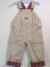 """Gymboree """"Ahead of the Class"""" Tan Striped Football Plaid Cuffed Overalls, 12-18m"""