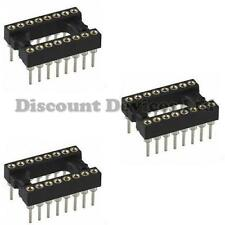 3x Dil-16 / Dip16 Calidad precision/turned Pin marco abierto Pcb 16 forma Ic Socket