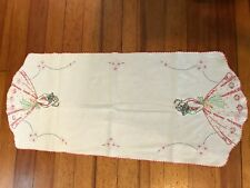 "Hand embroidered linen table runner multi color woman in gown with fan 36"" X 15"""