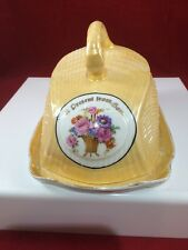 Antique Ceramic Covered Cheese Serving Dish with multi-color Flowers