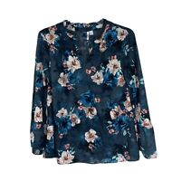ELLE Medium Blue Floral BLOUSE Top Shirt BOHO Bell 3/4 Sleeve Women Casual
