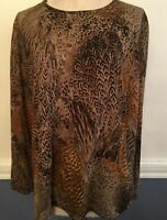 1X Koos of Course! Women's Plus Size Feather Brown Print Top Lined