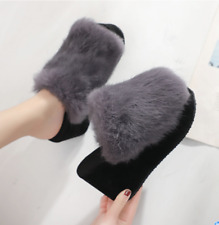 Womens Open Toe Faux Fur Wedge High Heels Slippers Platform Creppers Shoes kk01