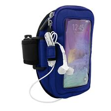 Blue VanGoddy Zippered Armband Pouch for Samsung Galaxy Note 4 3 / S5 /LG G Flex