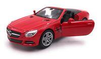 Modellauto Mercedes Benz SL500 Rot Cabrio Auto Maßstab 1:34-39 (lizensiert)