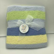 Just One Year Blue Yellow Green Striped Chenille New Baby Blanket HTF Carters