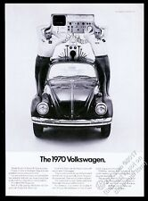 1970 VW Beetle classic car & diagnosis machine photo Volkswagen vintage print ad