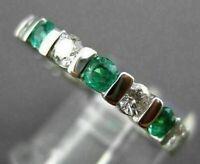 Estate 2 Ct Diamond & Emerald 14K White Gold Over Eternity Ring