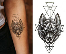 Temporary Tattoo Black Geometric Wolf Fake Body Art Sticker Waterproof