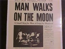 VINTAGE NEWSPAPER HEADLINE ~NASA SPACE SHIP MEN LANDS MOON MAN WALK LANDING