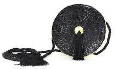 GIVENCHY Vintage Gold Leather & Black Woven Raffia Tassel Belt Bag