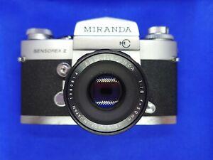 Miranda Sensorex II 35mm SLR camera- 35,50+135mm lens- case & flash- no timer