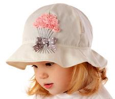 Neu Marika Mädchen Baby Sommer Hut Sonnenblende Blumen Rosa Schleife Beige