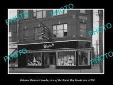 OLD LARGE HISTORIC PHOTO OSHAWA ONTARIO CANADA, THE WARDS DRY GOODS STORE c1950