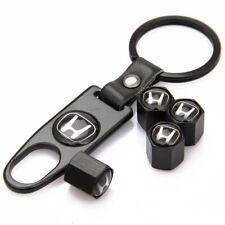 Honda Logo Black Car Wheel Tire Valves Dust Stems Air Caps + Keychain H Emblem