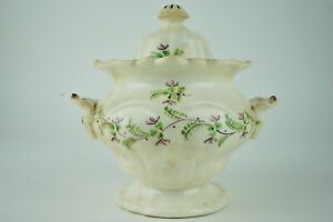 Antique Sprig Pattern Floral 1820's Sugar Bowl - English Style, Bowl and Lid