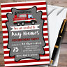 Red Stripes Fireman Fire Engine Childrens Birthday Party Invitations