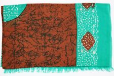 Brown Batik Silk Scarf Long Ladies 100% Pure Silk Scarf Wax Resist Technique TSO