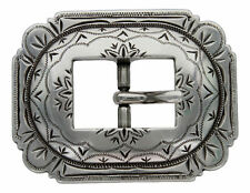 Western Equestrian Tack Engraved Cart Buckle Antique Silver Plated 3/4""