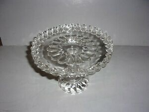 """EAPG ADAMS & Co. CLEAR GLASS ART PATTERN 9"""" DIA CAKE STAND w/RUM WELL & GALLERY"""