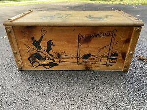 Vintage Wooden Toy Chest Cowboy Ranch Theme El Rancho Trunk 1950's