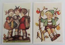 Postkarten Lot Kinder 2x Hummel Motivkarten Apple Tree Boy & School Girls color
