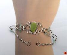 Bracelet Camila Pierre Semi Précieuse Oeil de Chat Vert Argent d'Alpaca Du Pérou