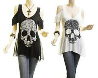 Women PLUS Gothic Lace Skull Print Cold Shoulder Jersey Tunic Shirt Top 1X 2X 3X