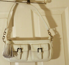 BROOKS BROTHERS IVORY OFF WHITE LEATHER CROSSBODY PURSE TASSEL PULL SILVER NWOT