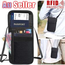 RFID Blocking Passport Card Holder Neck Stash Pouch Security Travel Wallet