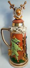 "Vtg 1977 Lrg 21"" Ceramic Stein Jar w/ Crossed Swords, Pan & Royal Court Guards"