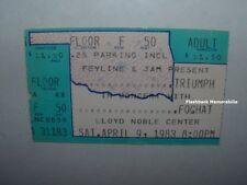 Triumph / Foghat Concert Ticket Stub 1983 Norman Ok Lloyd Noble Center Very Rare