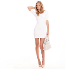 Marciano Guess White Knit Pucker Elbow Sleeve Sweater Knit Mini Bodycon Dress XS