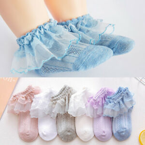 Girls Baby Toddler Kids Frilly Lace Ankle School Party Wedding Socks 3m-10 years