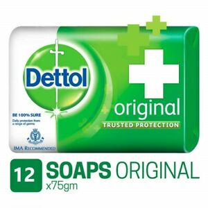 12 X Dettol Original Soap Bar Anti-bacterial Dermatology Tested 75g (900g)