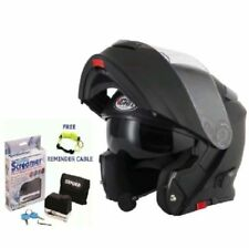 VCAN V271 MATT BLACK BLUETOOTH FLIP FRONT HELMET & OXFORD SCREAMER & DLR SIZE L