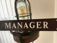 "Vintage Bakelite Mill Sign ""MANAGER"" Authentic Wellington Mill Greenfield"