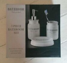 Bathroom 3 Piece Soap Dispenser, Soap Dish & Tumbler Set New In Box