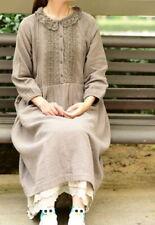 Robe lin brodée dentelle Mori ancien retro vintage shabby chic boheme