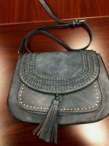 Anik Kraft Dusty Blue Faux leather tassel detail handbag Mint Condition