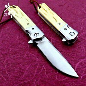 "Drop Point Folding Knife Pocket Flipper Hunting Survival Tactical Bone Handle 3"""