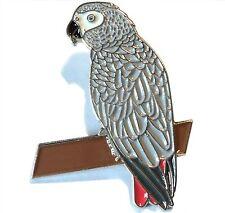 African Grey Parrot On Perch Metal Enamel Pin Bird Badge 34mm New