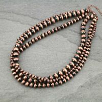 "South Western Navajo Style Faux Pearl Copper Bead Three Strand 18"" Necklace"