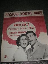 SPARTITI MUSICALI-perché la tua miniera CANTATA DA MARIO LANZA Doretta MORROW su COVER